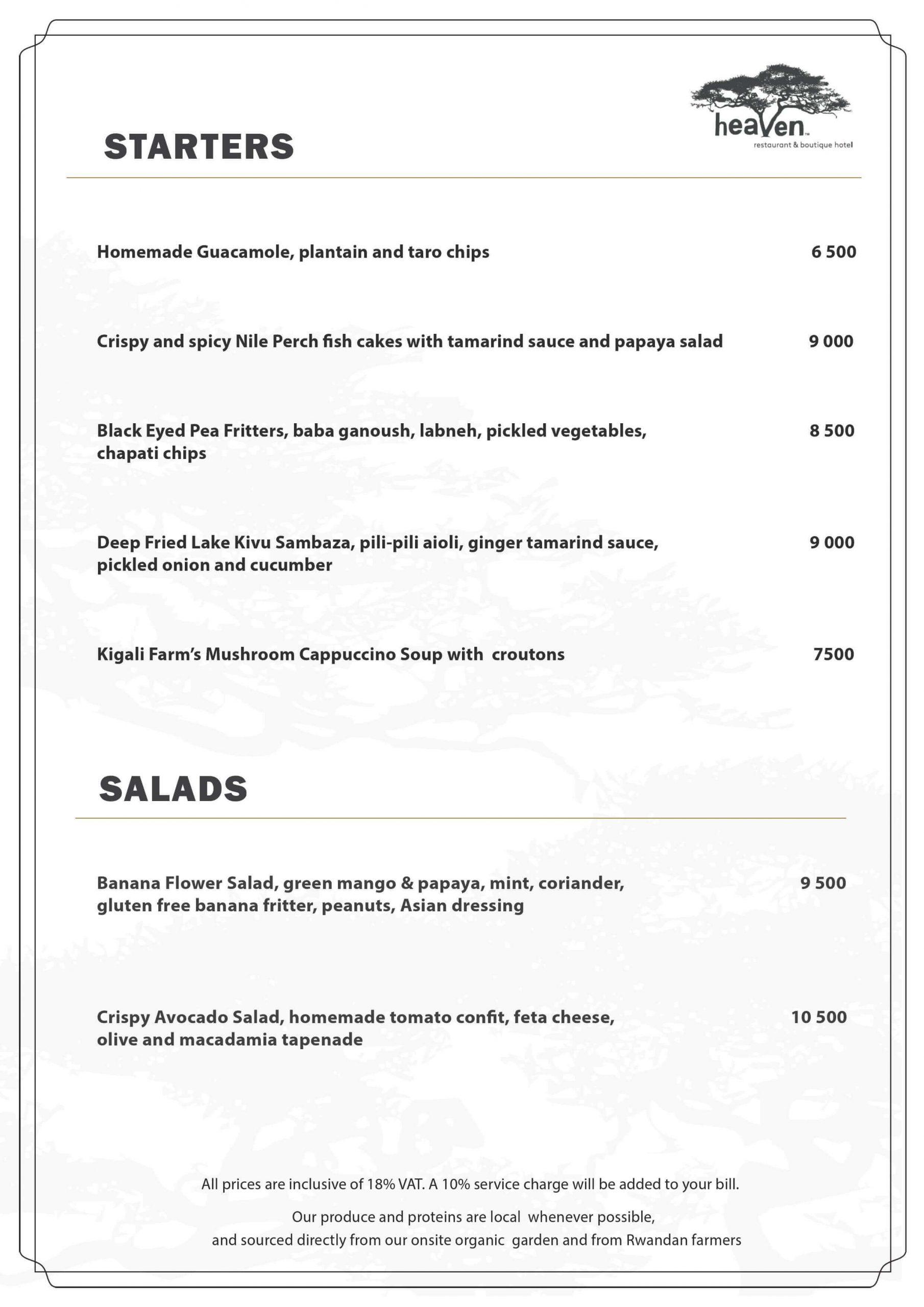 Starters- Heaven Restaurant